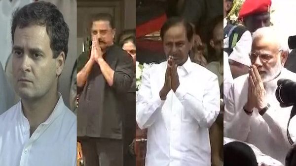 Political leaders conveyed their condolences to M KarunanidhI before his final journey to marina beach