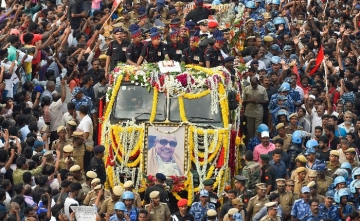 DMK Supremo M Karunanidhi was laid to rest at Chennai's Marina Beach on Wednesday, 8 August.