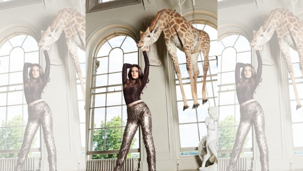 Kriti Sanon's giraffe photo for <i>Cosmopolitan India</i> magazine sparks controversy online.