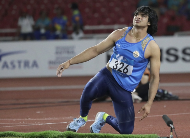 Neeraj Chopra during the final of the javelin throw event at the 2018 Asian Games.