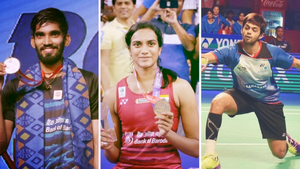 From left: Kidambi Srikanth, PV Sindhu and Sai Praneeth.