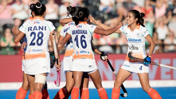 The Indian women's team celebrate a goal during their match against Italy.