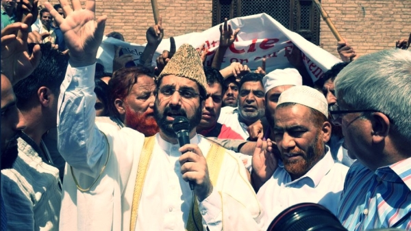 Separatist leaders shout slogans as they lead two separate protest rallies in support of Article 35A, in Srinagar. Image used for representational purposes.