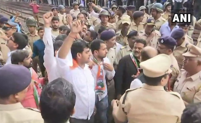 Congress leaders staged 'Rail Roko' at Mumbai's Andheri railway station.