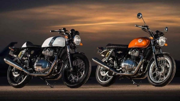 The Royal Enfield Continental GT 650 (left) and the Royal Enfield Interceptor INT 650 share the same chassis and engine, with different body styles.