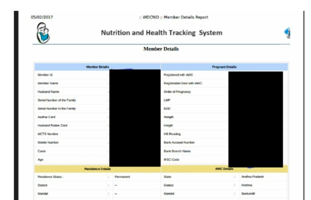 Publicly accessible Aadhaar-linked medical profiles of pregnant women.