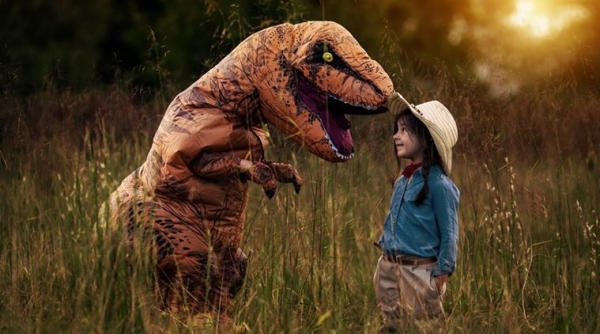 Dino by his Side, Autistic Boy No Longer Scared of Cameras