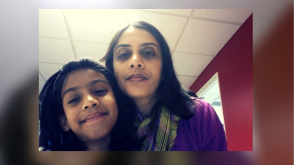 Ranjini, with her daughter.
