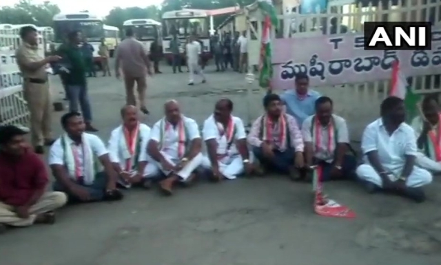 Congress workers held protests in Musheerabad bus depot in Hyderabad.
