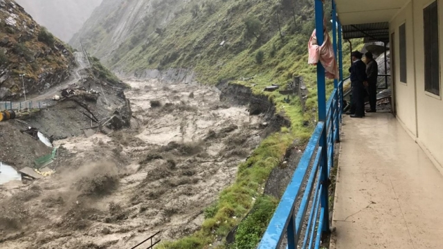 Over flowing river in Bharmour's Kharamukh area.