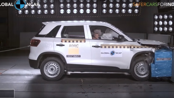 The Vitara Brezza during the crash test.