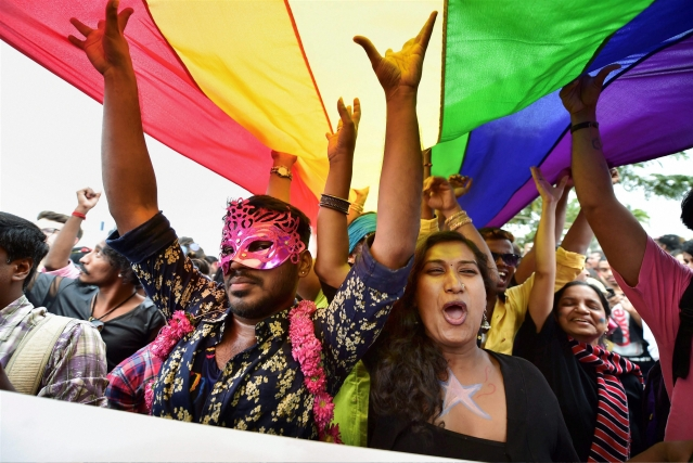 Supports and activists from the  community celebrating under the LGBTQ Flag.