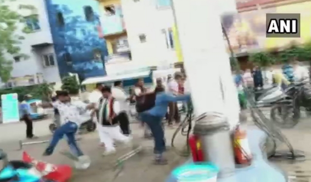 Congress workers vandalised a petrol pump in Ujjain.