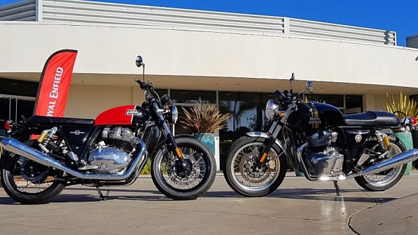 Royal Enfield Interceptor 650 (left) and Royal Enfield Continental GT 650 (right) in Santa Cruz, California ahead of global launch and US price reveal.