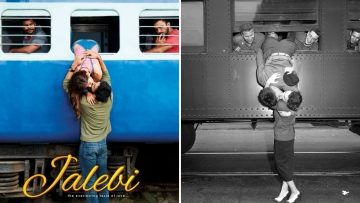 First look poster of <i>Jalebi </i>resembles iconic 'Korean War Goodbye Kiss'.