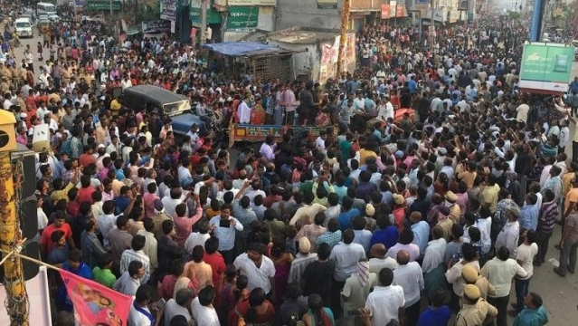 Thousands gathered in Miryalaguda on 16 September following the death of Pranay Permulla.