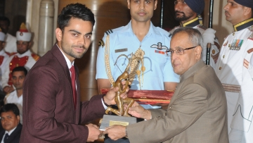Virat Kohli won the Arjuna Award in 2013 and will receive the Khel Ratna on Tuesday in Delhi.