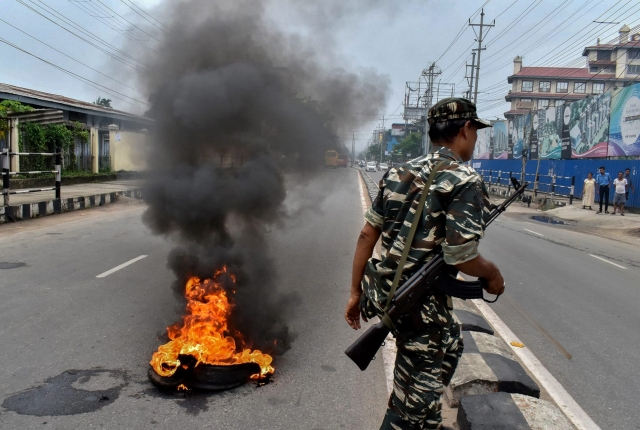 Protesters burnt tyres in Guwahati to protest against rising fuel prices in the backdrop of Bharat Bandh.