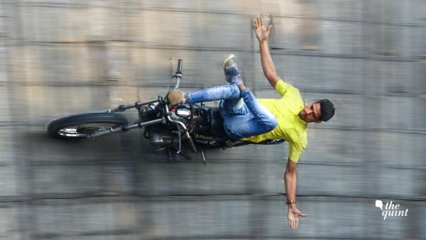 A biker riding his bike in 'Maut Ka Kuan'.