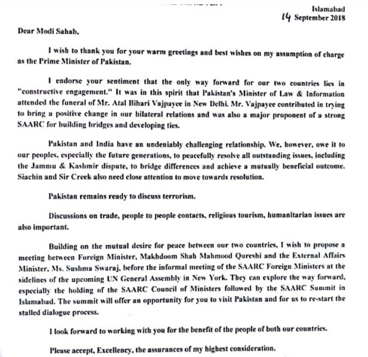 Pakistan Pm Imran Khan Writes To Pm Modi For Foreign Ministers Meeting