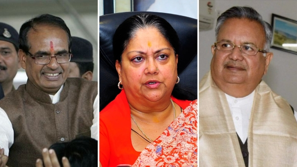 Current Chief Ministers of Madhya Pradesh, Rajasthan, and Chhattisgarh, Shivraj Chouhan (left), Vasundhara Raje (middle), and Raman Singh (right), respectively.