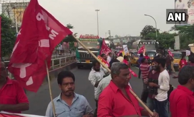 CPI(M) workers held protests in Andhra Pradesh's Visakhapatnam.