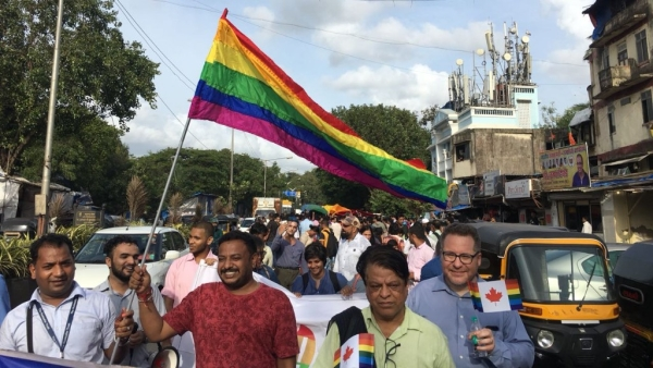 Indian citizens in Mumbai celebrate the Supreme Court verdict scrapping parts of Section 377 of the IPC and decriminalising homosexuality, on 6 September, 2018.