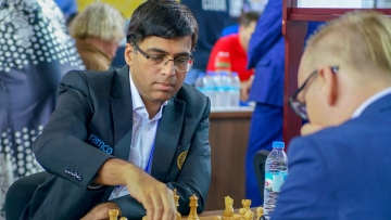 Batumi: Five-time world champion Viswanathan Anand plays against Markus Ragger of Austria in the second round of the team event at 43rd Chess Olympiad in Batumi, Geogia.