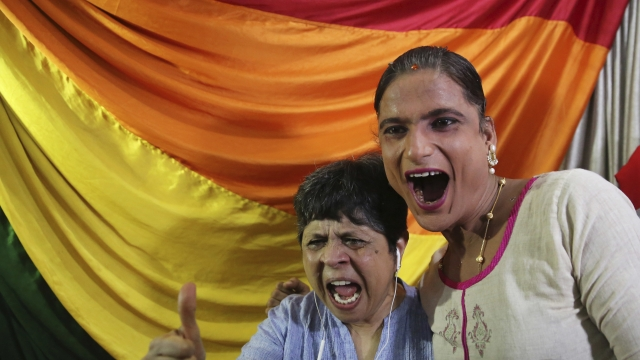Gay rights activist Chitra Palekar celebrates the SC's decision in Mumbai.