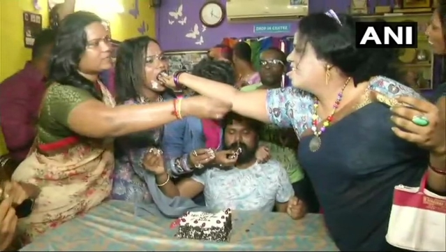 People from the LGBTQ community in Chennai celebrate the SC's verdict by cutting a cake.