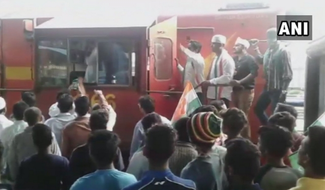 Congress workers blocked a train in Odisha's Sambalpur.