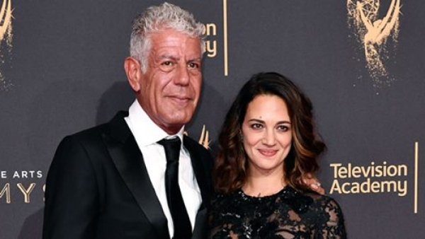 The late Anthony Bourdain with Asia Argento.