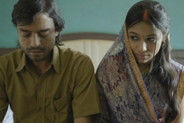 Saharsh Kumar Shukla and Taneea Rajawat in a still from the film.