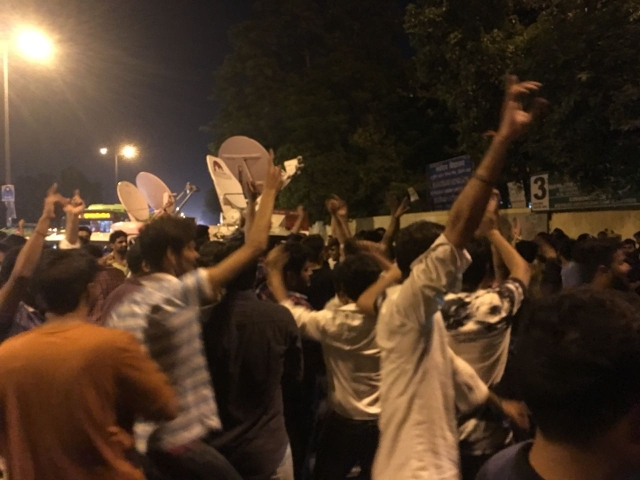 Students celebrate as ABVP clinches three major posts.