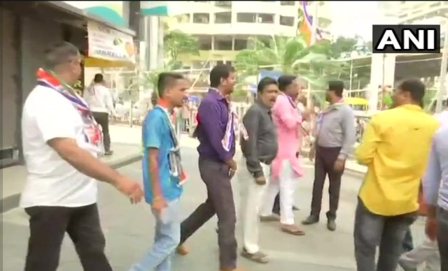 MNS workers in Mumbai forcefully shut shops.
