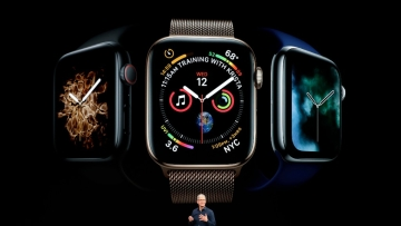 Apple CEO Tim Cook discusses the new Apple Watch 4 at the Steve Jobs Theater