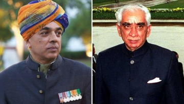 Manvendra Singh (left) and father and BJP founding member Jaswant Singh (right).