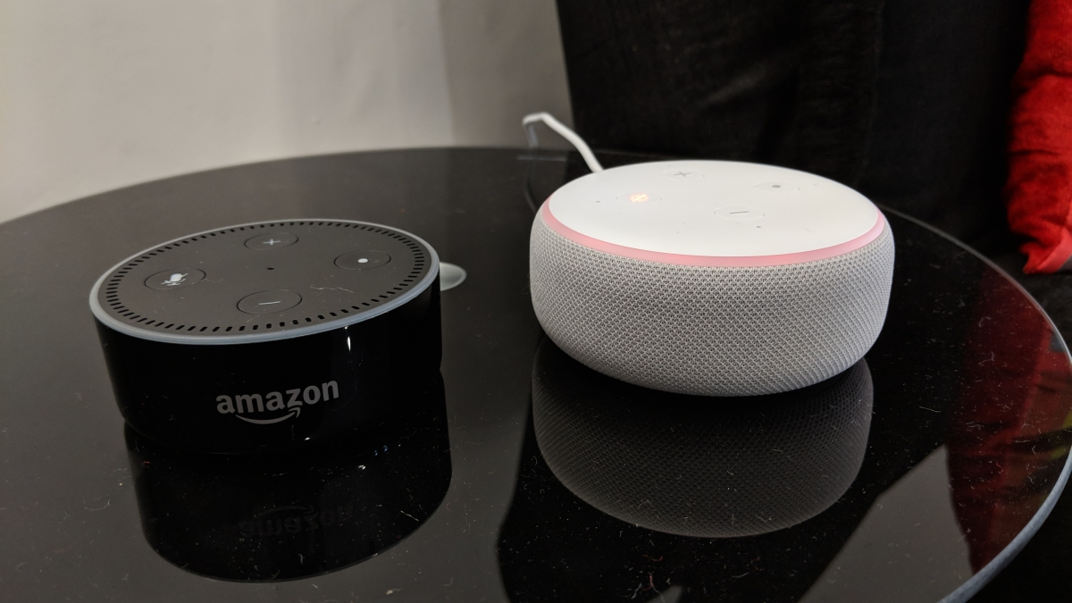 Echo Dot 2017 (left) and the Echo Dot 2018 (right)