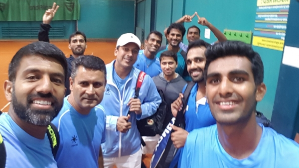 The Indian Davis Cup team that played Serbia.