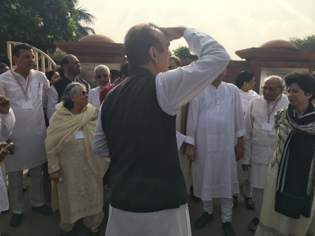 Congress leader Ghulam Nabi Azad arrives at Rajghat to participate in the Bharat Bandh called by the party.