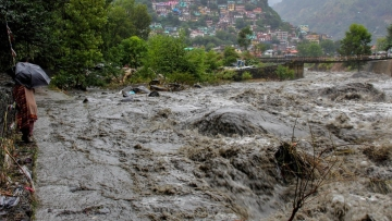 A swollen Beas river after heavy rains in the region, in Kullu district.