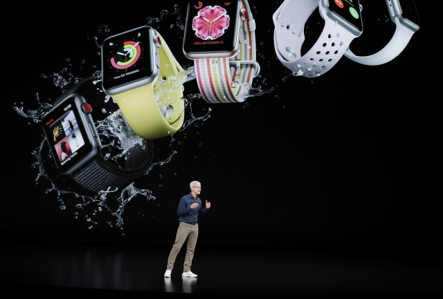 Apple CEO Tim Cook discusses the new Apple Watch 4 at the Steve Jobs Theater.