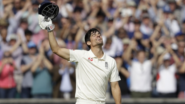 Alastair Cook celebrates his century on Day 4 of The Oval Test against India.
