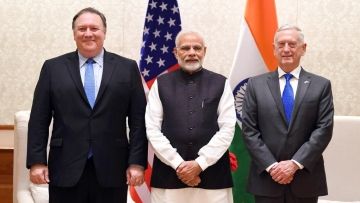 US Secretary of State Mike Pompeo and Defence Secretary James Mattis met Prime Minsiter Narendra Modi in Delhi.