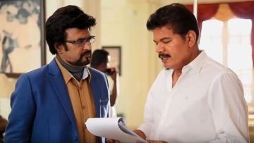Rajinikanth and Shankar on the sets of <i>2.0</i>.