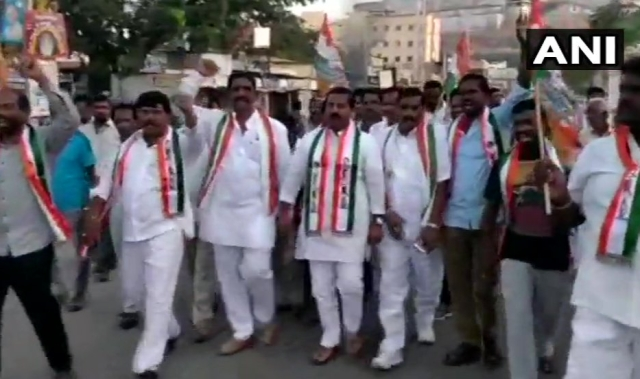Congress workers held protests in Yadadri Bhuvanagiri district's Bhongir in Hyderabad.