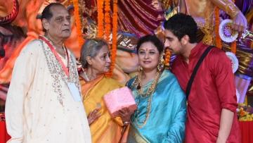 Jaya Bachchan, Ayan Mukerji at a Durga Puja pandal in Mumbai.
