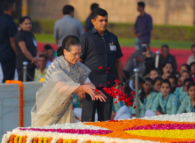 Sonia Gandhi pays tribute at Rajghat on the occasion of Mahatma Gandhi's 150th birth anniversary.