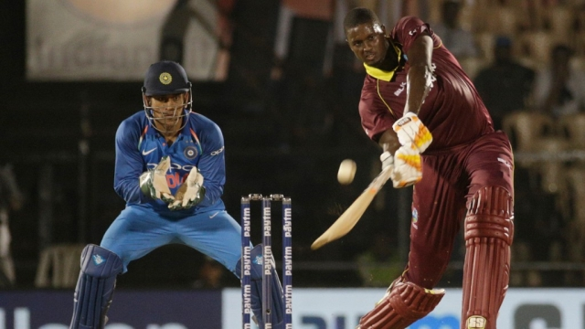 West Indies skipper Jason Holder en route to his 54 not out against India in Mumbai on Monday.