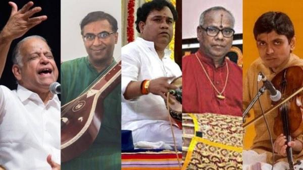 (From left to right) OS Thiyagarajan, N Ravikiran, Mannargudi Eswaran, Srimushnam Raja Rao, and Nagai Sriram.